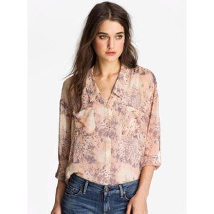 Free People Floral Button Sheer Chiffon Boho Top